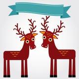 Lustige braune Rotwild auf einem weißen Hintergrund Schließen Sie zusätzliches Format ENV ein (Adobe-Illustrator) Vektor Stockfotos