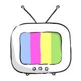 Lustige bunte Fernsehikone mit Antenne Editable lokalisierter Vektor Stockfotografie
