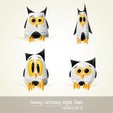 Lustige Cartoony Nachteulen Stockbilder