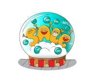 Lustige Charaktere des Verkaufs: Buchstaben in einer Glasschneekugel Lizenzfreie Stockbilder