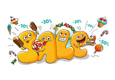 Lustige Charaktere des Verkaufs: Buchstaben mit Bonbons Stockfotografie