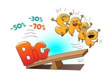 Lustige Charaktere des Verkaufs: Buchstaben und großer Verkauf Lizenzfreie Stockfotos