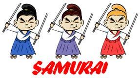 Lustige chibi Samurais mit zwei katanas Netter ninja Samuraikriegers-Kämpfercharakter in drei Farbarten Entwurf für Druck, t-shi stock abbildung