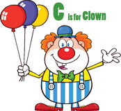 Lustige Clown-Cartoon Character With-Ballone und Buchstabe C Stockfoto