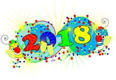 Lustige Clowne auf einer bunten guten Rutsch ins Neue Jahr-Karte Stockfoto
