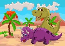 Lustige Dinosaurierkarikatur Stockfotografie