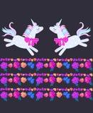 Lustige lustige Einhörner und schöne gestreifte Grenze, bestanden aus hellen Blumen, Schmetterlingen und Blumenblättern auf schwa stock abbildung