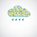 Lustige Farbenwolke. Frühlingsregen. stock abbildung