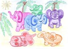 Lustige farbige Schätzchenelefanten, zeichnend lizenzfreie abbildung