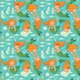 Lustige Farbnahtloses Muster mit Meerjungfrauen Stockfoto