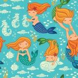 Lustige Farbnahtloses Muster mit Meerjungfrauen Stockbild