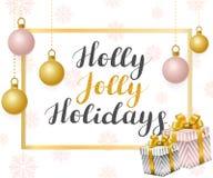Lustige Feiertage der Stechpalme Illustration mit goldenen Bällen auf einem rosa Hintergrund stock abbildung