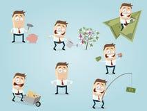 Lustige Finanzgeschäftsmannsammlung Stockbild