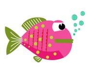 Lustige Fische des Vektors mit Blasen Stockfotografie