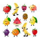 Lustige Früchte der Karikatur Glückliche Apfelbananen-Himbeerpfirsichbirnenwassermelonenzitronen-Erdbeergesichter Fruchtbeerenvek vektor abbildung