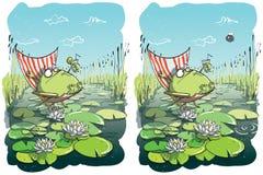 Lustiges Frosch-Unterschied-Sichtbarmachungs-Spiel Lizenzfreie Stockfotos