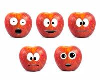 Lustige Fruchtzeichen Rot-Äpfel stockfotos
