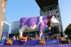 Lustige gefälschte Kuh als Werbungsschokolade Milka Stockbild
