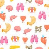 Lustige Gefühl-nahtloser Muster-Hintergrund der Karikatur-inneren Organe Vektor vektor abbildung