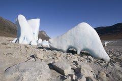 Lustige geformte Eisberge Stockfotografie