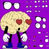 Lustige Gehirnkarikaturhippie-Artausdrücke eingestellt Stockfotografie
