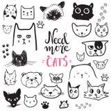 Lustige Gekritzelkatzen-Ikonensammlung Hand gezeichnetes Haustier, Kind gezeichnetes DES vektor abbildung