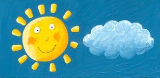 Lustige gelbe Sonne