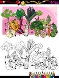 Lustige Gemüsekarikatur für Malbuch Stockbilder