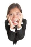 Lustige Geschäftsfrau mit dem Druck getrennt stockbilder