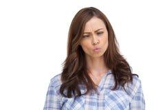 Lustige Gesicht verziehendes Frau Lizenzfreie Stockfotos