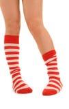 Lustige gestreifte Socken Stockfoto