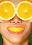 Lustige Gesundheit und orange Konzept Lizenzfreies Stockfoto
