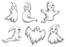 Lustige ghots Karikaturhalloweens Ikonen stock abbildung