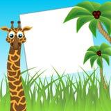 Lustige Giraffe auf Hintergrund der Palmen Lizenzfreie Stockfotos