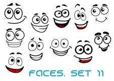 Lustige glückliche Gesichtszeichentrickfilm-figuren stock abbildung