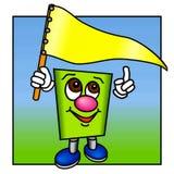 Lustige grüne Abbildung mit einer gelben Markierungsfahne. Stockfotografie