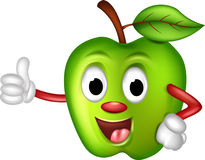 Lustige grüne Apfelkarikatur Lizenzfreie Stockfotografie