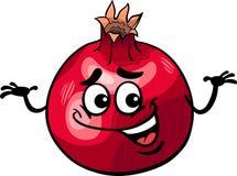 Lustige Granatapfelfrucht-Karikaturillustration Stockfoto