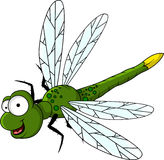 Lustige grüne Libellekarikatur Lizenzfreie Stockbilder