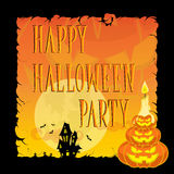 Lustige Halloween-Kürbise, Schläger, furchtsame Spinnen und Text Retro- Karikaturart auf Steigungshintergrund Auch im corel abgeh Lizenzfreie Stockbilder