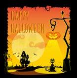 Lustige Halloween-Kürbise, Schläger, furchtsame Spinnen und Text Retro- Karikaturart auf Steigungshintergrund Auch im corel abgeh Stockbild