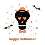 Lustige Halloween-Schädelillustration vektor abbildung
