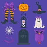 Lustige Halloween-Vektorikonen eingestellt Einschließlich Bonbons bauschen Sie sich, Eule, Kürbis, Geist, Schläger, Laterne, Hexe lizenzfreie abbildung