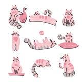 Lustige Handgezogener Katzensatz Skandinavische Artillustration des rosa Tiervektorgekritzels mit entzückenden Kätzchen Colletion stock abbildung