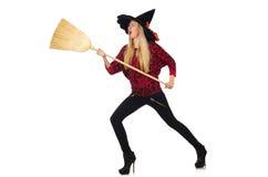 Lustige Hexe mit dem Besen lokalisiert Lizenzfreie Stockfotos