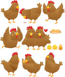Lustige Huhnkarikaturansammlung 2 Stockfotos