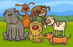 Lustige Hundegruppen-Karikaturillustration Stockbild