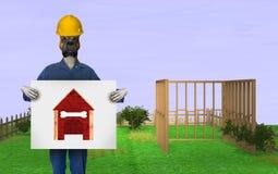 Lustige Hundehütte-Heimwerken-Illustration Stockfoto