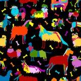 Lustige Hundesammlung, nahtloses Muster für Ihr Design Lizenzfreies Stockfoto