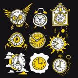Lustige Ikonen der Karikatur mit Uhr Stockfotografie